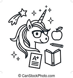 Cute unicorn wearing eyeglasses with school themed icons around. Single color outline vector illustration. Simple line doodles, coloring book page, education, reading, learning theme.