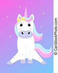 Cute unicorn with a bow cartoon character