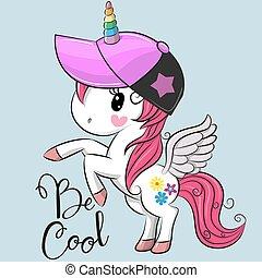 Cute unicorn with a cap