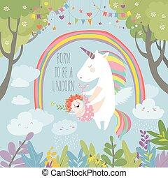 Cute unicorn with baby