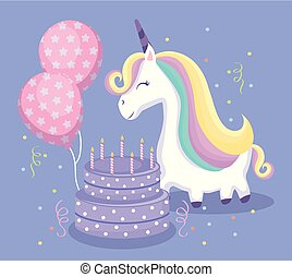 cute unicorn with cake and balloons helium