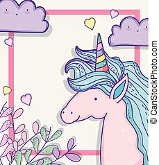 cute unicorn with clouds and branches leaves