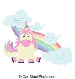 cute unicorn with clouds and rainbow kawaii characters