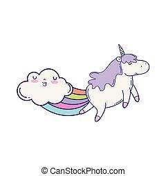 cute unicorn with clouds and rainbow kawaii