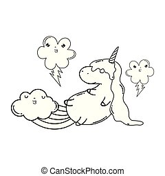 cute unicorn with clouds and rainbow kawaii