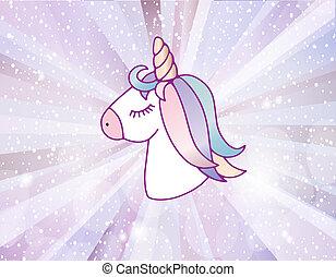 Cute unicorn with floral wreath - Cute unicorn head with...