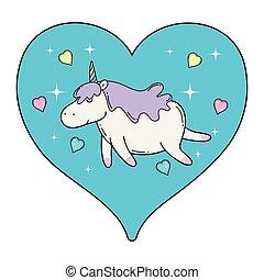 cute unicorn with heart kawaii character