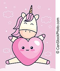 cute unicorn with heart kawaii style