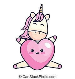 cute unicorn with heart kawaii style