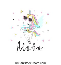 Cute unicorn with inscription - Aloha. For print design. Can be used for poster, greeting card, bags, t-shirt.