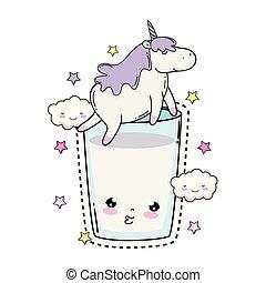 cute unicorn with milk glass kawaii