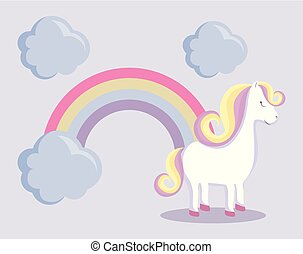 cute unicorn with rainbow and clouds