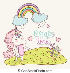 cute unicorn with rainbow clouds and hearts
