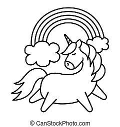 cute unicorn with rainbow isolated icon