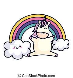 cute unicorn with rainbow kawaii style