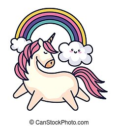 cute unicorn with rainbow kawaii style