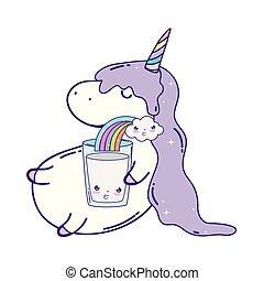 cute unicorn with rainbow kawaii