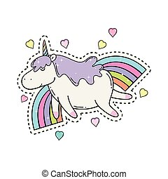 cute unicorn with rainbow kawaii
