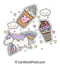 cute unicorn with set kawaii icons