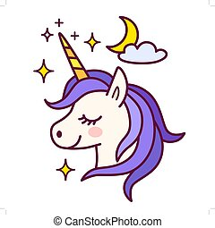 Cute unicorn with sparkles and moon vector illustration. Simple color flat line doodle icon contemporary style design element isolated in white. Magical creatures, fantasy, dreams theme.