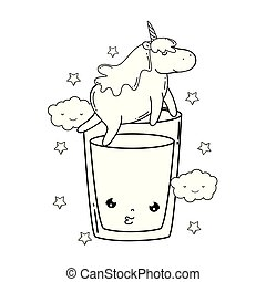 cute unicorn with water glass kawaii