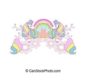 Cute unicorns and fairy-tale princess castle