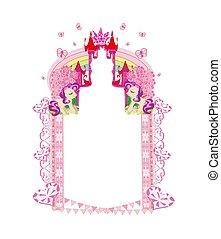 Cute unicorns and fairy-tale princess castle frame