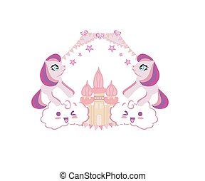 Cute unicorns and fairy-tale princess castle, girlish frame