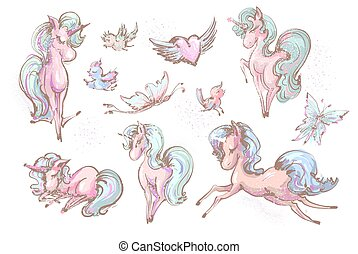 Cute unicorns , butterflies and birds collection , vector sketchy illustration set of little unicorns