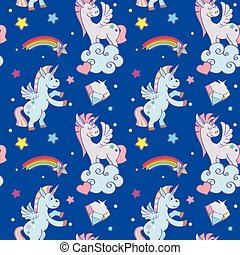 Cute unicorns, clouds, rainbow magic wand vector seamless pattern