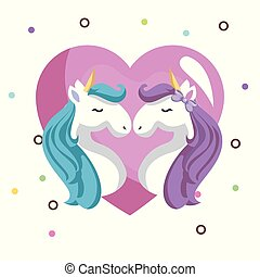 cute unicorns couple with heart kawaii character birthday card