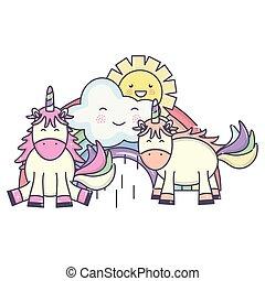 cute unicorns in rainbow with clouds and sun kawaii characters