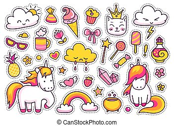 Cute unicorns with magic elements.