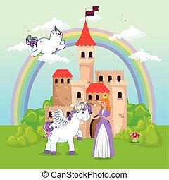 cute unicorns with princess in fantasy landscape