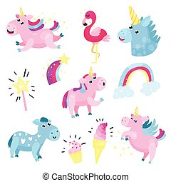 Cute unicorns with set, collection with rainbow, cloud,...
