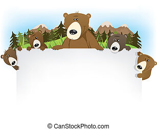cute, urso, família, fundo