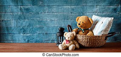 cute, urso teddy, em, um, cesta, bandeira