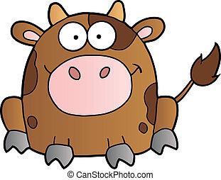cute, vaca, marrom