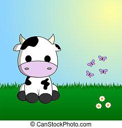 cute, vaca, sentando, em, capim
