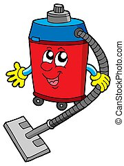 Cute vacuum cleaner - isolated illustration.