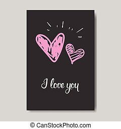 Cute Valentine Day Greeting Card Design Sketch Love Postcard