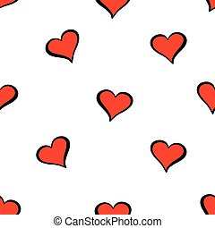 Cute valentine s seamless pattern with hearts on white ...
