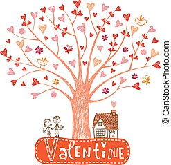 Valentine tree - Cute Valentine tree, leaf as hearts