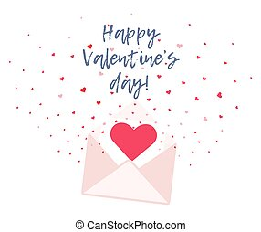 Cute Valentines card with envelope and hearts