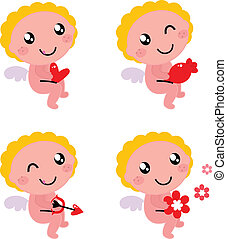 Little cartoon angels isolated on white background. Vector Illustration