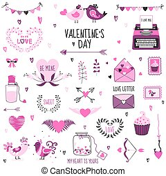 Cute Valentine's Day and Love Set - for design, scrapbooking  in vector
