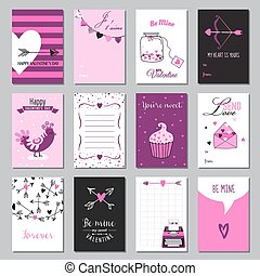Cute Valentine's Day and Love Set - Set of Tags and Labels - in vector