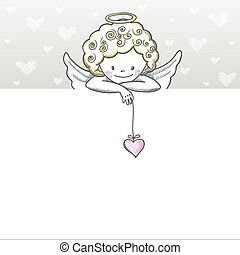 Cute Valentine's day banner with sketch Cupid. Vector...