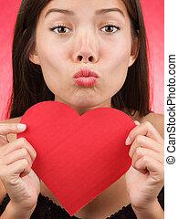 Cute Valentines Day woman kiss