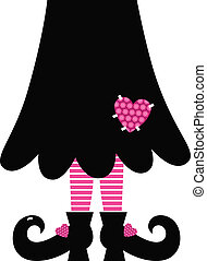 Cute Valentines Witch legs isolated on white